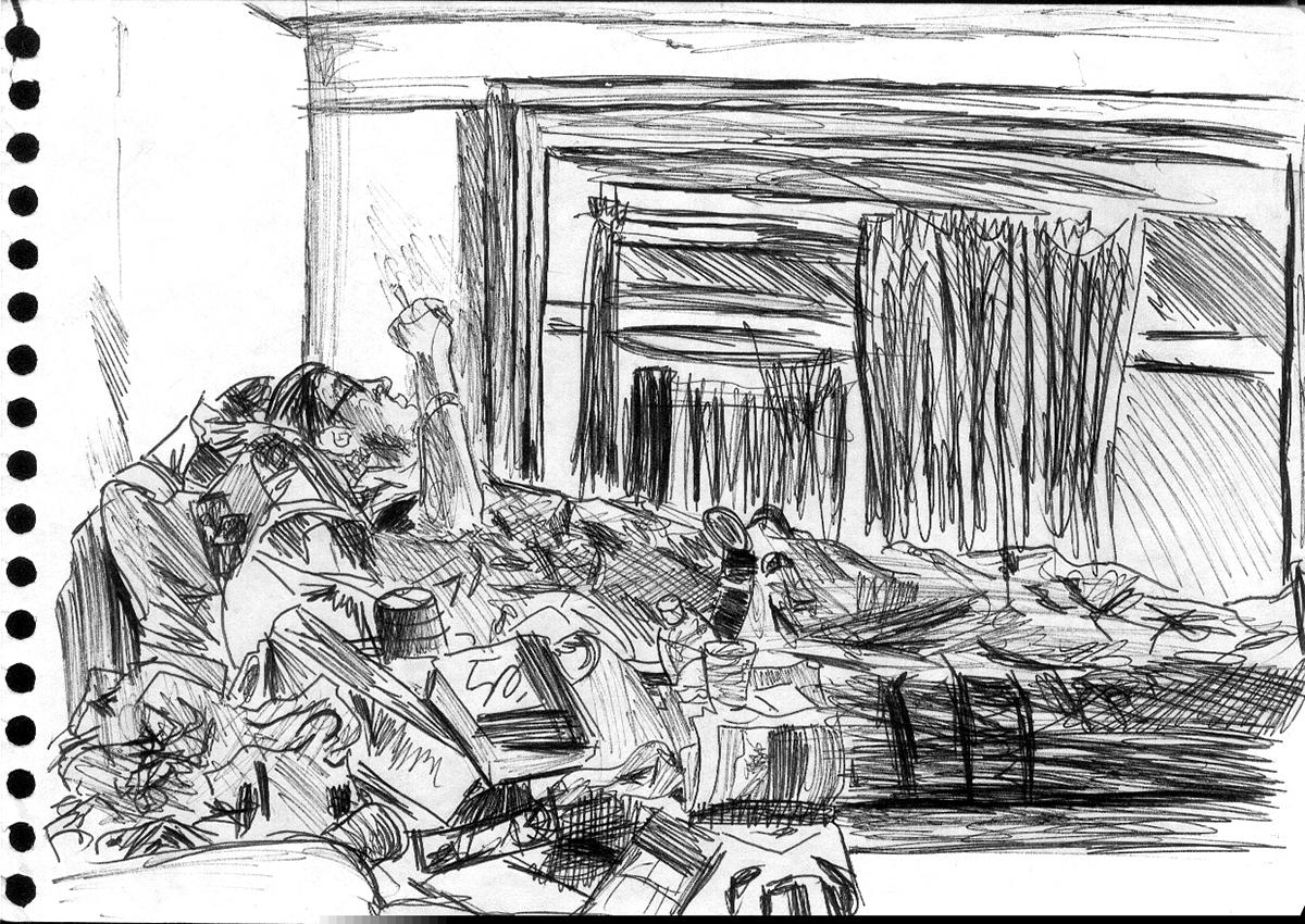 Dessin - Chambre dans une auberge de jeunesse, Amsterdam © L\'Oeil d\'Édouard