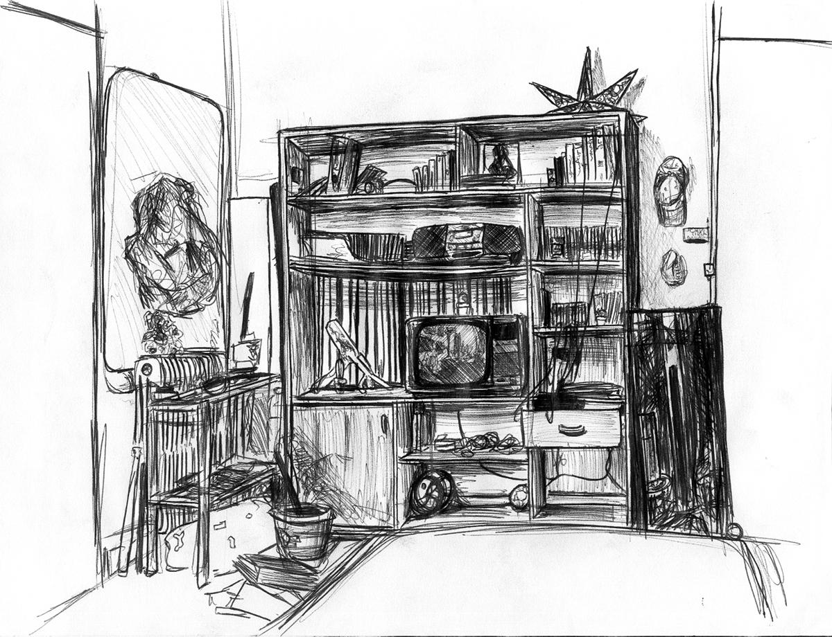 Dessin - Chambre d\'un appartement annécien © L\'Oeil d\'Édouard