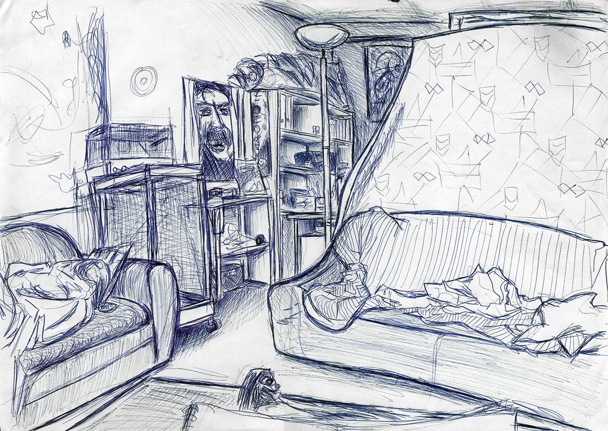 Dessin - Salon d\\\'un appartement annécien © L\\\'Oeil d\\\'Édouard