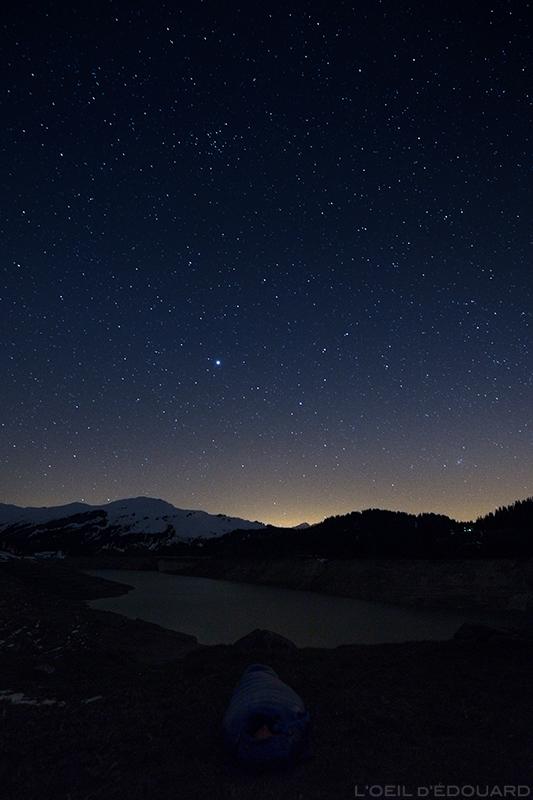 Nuit à la belle étoile au Lac de Roselend, Beaufortain