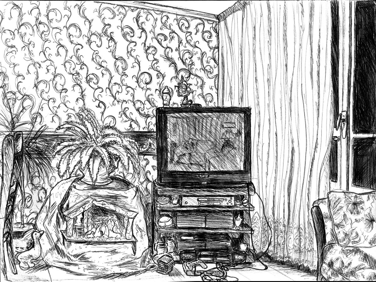 Dessin - Salon d\'un appartement bisontin © L\'Oeil d\'Édouard