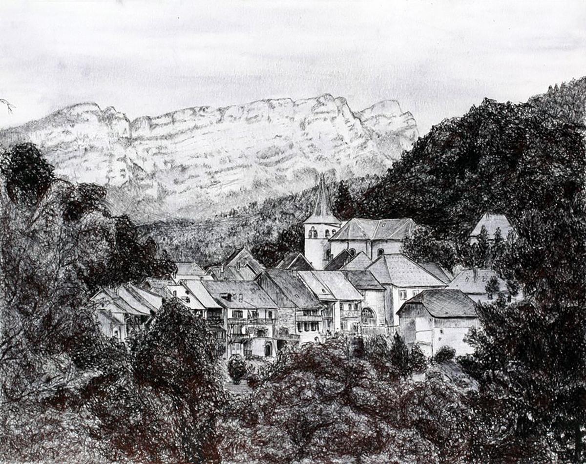 Dessin - Village Le Châtelard, Massif des Bauges, Savoie © L\'Oeil d\'Édouard