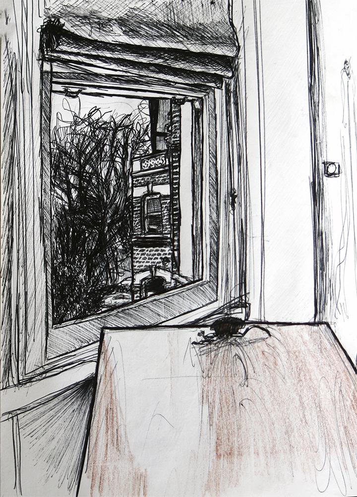 Dessin - Fenêtre d\'un appartement, Londres © L\'Oeil d\'Édouard