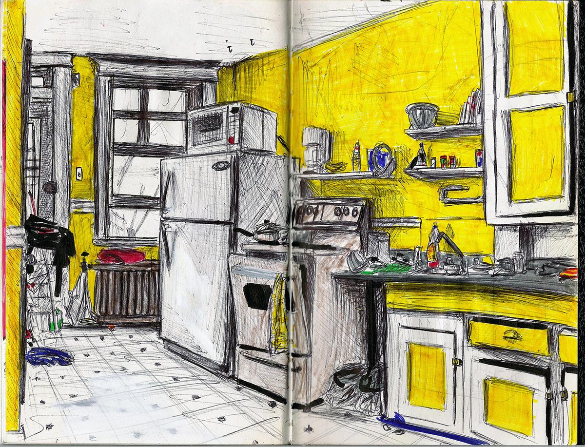 Dessin - Cuisine d\'un appartement à Montréal, Canada © L\'Oeil d\'Édouard