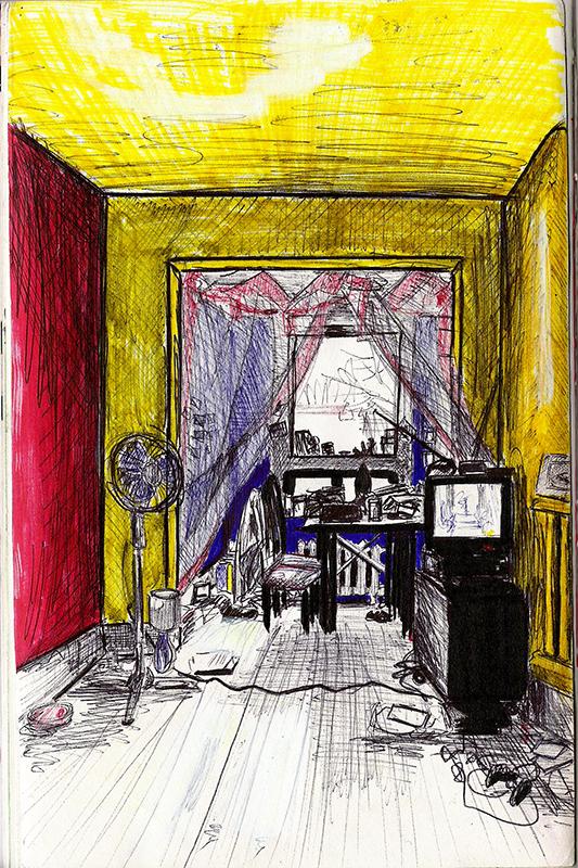 Dessin - Salon d\'un appartement à Montréal, Canada © L\'Oeil d\'Édouard