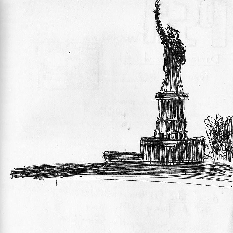 Dessin - Statue de la Liberté à New York, USA © L\'Oeil d\'Édouard