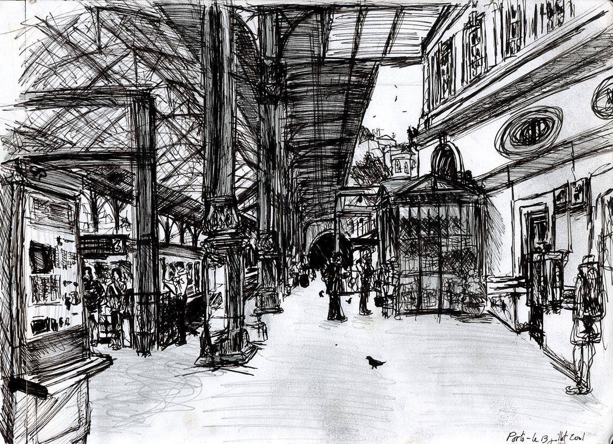 Dessin - Intérieur de la Gare de Porto © L\'Oeil d\'Édouard