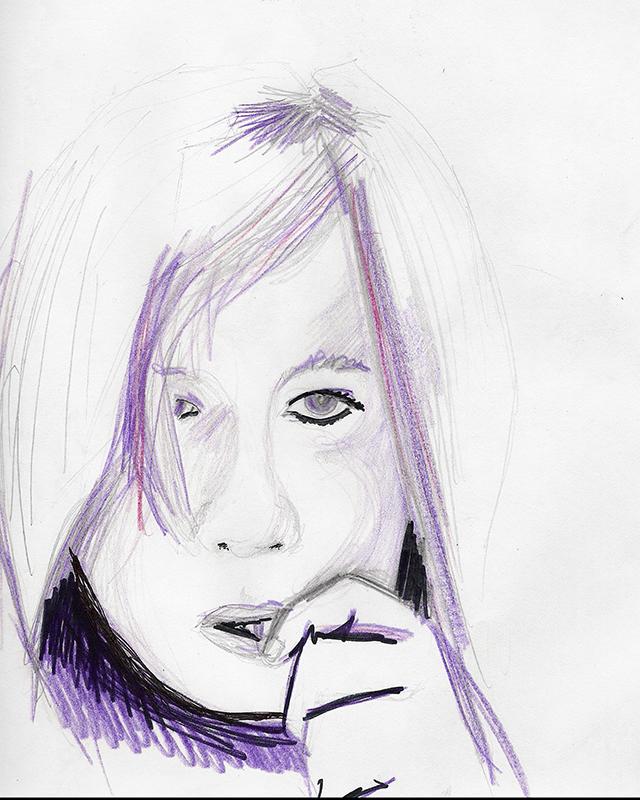 Dessin - Portrait d\'une jeune fille anxieuse © L\'Oeil d\'Édouard