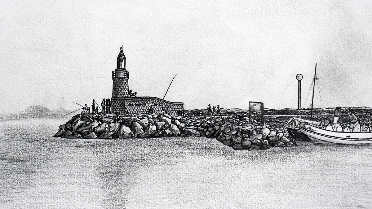 Dessin du phare du port de Sanary-sur-Mer © L\'Oeil d\'Édouard