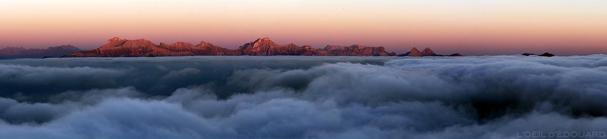 Obiou et Mer de nuages depuis le Mont Aiguille